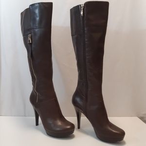 Guess Knee High Sexy Chocolate Brown Leather